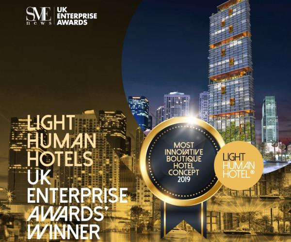 Light Human Hotels, winner of the Most Innovative Boutique Hotel's 2019 UK Enterprise Awards.